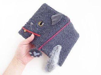 追加制作☆モケモケ猫さんブックカバー(手帳カバー)10イエローアイのぐれーさんの画像