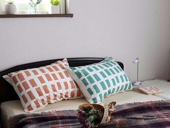 枕カバー 寝具 63×43cm ドロウン コーラル スクエアチェック 北欧デザイン jubileemkr071ymの画像