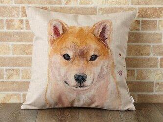 クッションカバー 45×45cm 北欧柄 柴犬 天然リネン Ginny & I jubileecushionpt009の画像