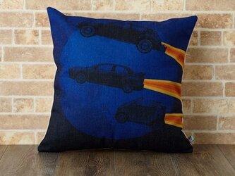 クッションカバー 45×45cm 北欧柄 ナイトビークル 天然リネン デザイン jubileecushionkw012の画像