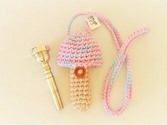トランペット マウスピースケース(毛糸)キノコ型【パープルmix色】首掛け用の画像