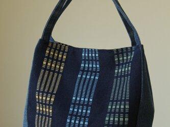 【再販】手織り布・藍染めロートン織り 手提げバッグの画像