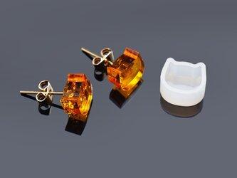 ピアス用 ネコ シリコンモールド シリコン型 レジン型 UVレジンの画像