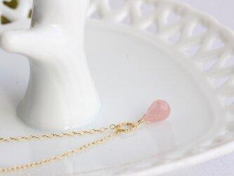 ピンク色グァバクォーツの一粒ネックレス【K14gf】の画像
