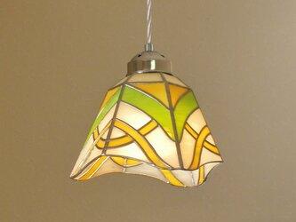 ペンダントライト・イエロー×グリーン (ステンドグラス)天井のおしゃれガラス照明 Lサイズ・9の画像