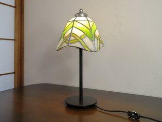 イエロー×グリーンのアシンメトリー(ステンドグラスランプ)ガラス照明・ガラス  Lサイズ・9の画像