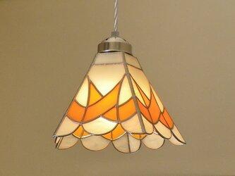 オレンジのライン (ステンドグラスペンダントライト)天井のおしゃれガラス照明 Lサイズ・10の画像