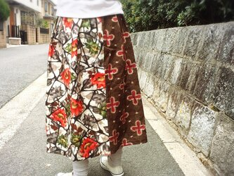サンガイ*着物リメイク*銘仙ギャザースカートの画像