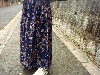 サンガイ*着物リメイク*時代着物*マキシスカート*紬の画像