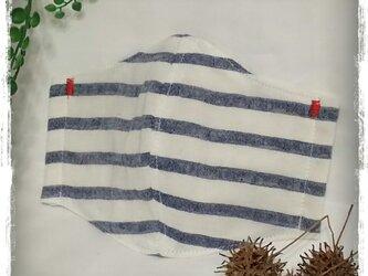 (LL)白ボーダー*ワイヤ入り立体マスクの画像