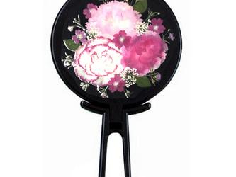 押し花カーネーションハンドミラー (黒)の画像