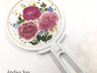 押し花カーネーションハンドミラー (白)の画像