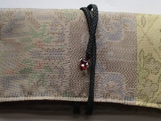送料無料 着物リメイク 色大島紬で作った和風財布 2417の画像