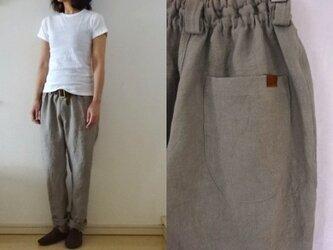【受注制作】ベージュグレー 綾織りリネン ゆるりパンツの画像
