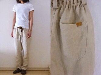 【受注制作】アイボリーベージュ 綾織りリネン ゆるりパンツの画像