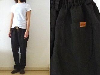 【受注制作】黒 綾織りリネン ゆるりパンツの画像