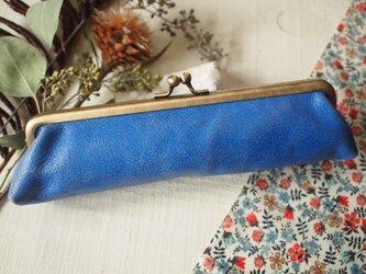 本革ブルーと(オレンヂ)リバティ がま口ペンケース の画像