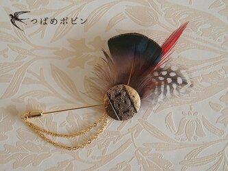 ヴィンテージボタンと羽根のハットピン(F)【送料無料】の画像