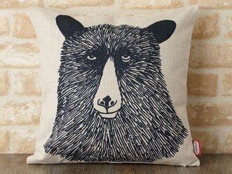 クッションカバー 45×45cm Jimbobart デザイン クマ JIMBOCUSHION001 天然リネンの画像