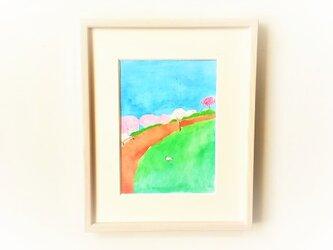 「春の空」イラスト原画  ※額縁入りの画像