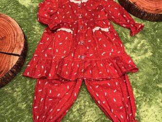 キッズレースフリルワンピースパジャマ 赤うさぎ柄の画像