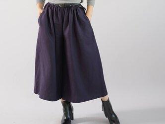 【wafu】リネンパンツ ワイドスカーチョ キュロットパンツ ポケット付き 半端丈/テュリップ ノアール bo5-46の画像