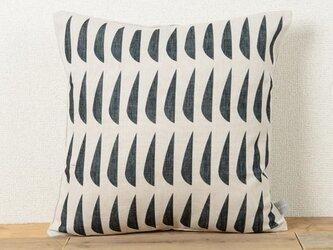 クッションカバー 45×45cm 北欧デザイン 天然リネン ブラックフィッシュjubileecushioncc046ymの画像