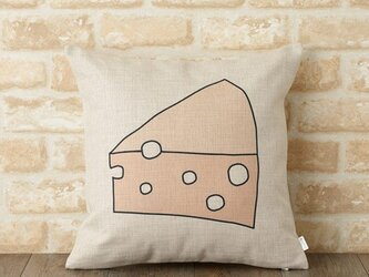 クッションカバー 45×45cm 北欧デザイン 天然リネン チーズ jubileecushionym014の画像