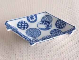 染付丸紋 盤型手塩皿の画像