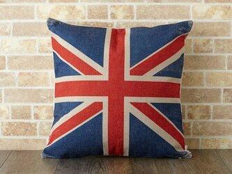 クッションカバー 45×45cm イギリス UK 天然リネン ユニオンジャック jubileecushionse509の画像