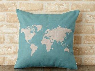 クッションカバー 45×45cm 北欧柄 世界地図 ホワイトワールド jubileecushionse453aの画像