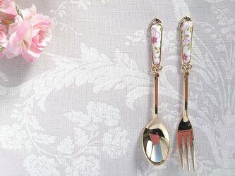 小さなお花柄♡リボンのスプーン(フォークは別販売です)の画像