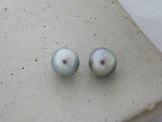 8mm♪ピアスに☆ あこや真珠ナチュラルブルーバロック8mm 両穴ルース2Pセット 08-09NB2の画像