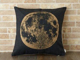クッションカバー 45×45cm 北欧柄 月 天然リネン ビッグムーン jubileecushionse423aの画像