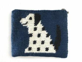 かぎ針編みのポーチ  いぬ  (紺)の画像