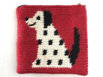 かぎ針編みのポーチ  いぬ  (赤)の画像