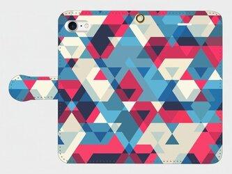 さんかくパターン ③ (赤×青×白) iphone 5/5s/6/6s/SE/7 専用 手帳型スマホケースの画像
