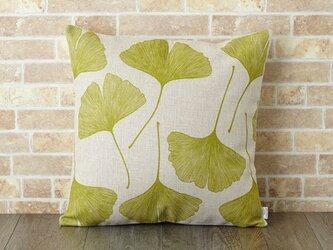 クッションカバー 45×45cm いちょう 植物 天然リネン ギンゴリピート jubileecushionse052aの画像