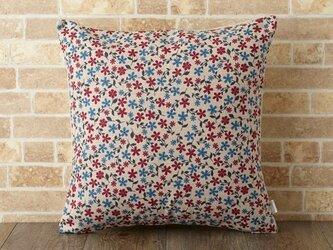 クッションカバー 45×45cm 小花柄 春 天然リネン レッドブルーディジー jubileecushionor006の画像