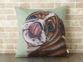 クッションカバー 45×45cm 天然リネン 動物 ペット ブルドッグ jubileecushiondg002の画像