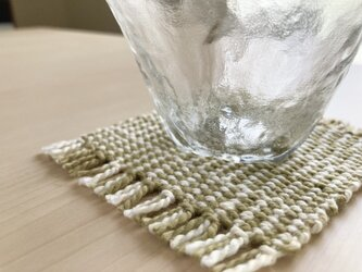 あじろ織りエンジュ染めコースター 格子小の画像