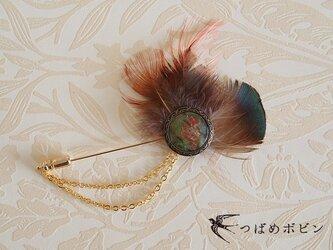ヴィンテージボタンと羽根のハットピン(I)【送料無料】の画像