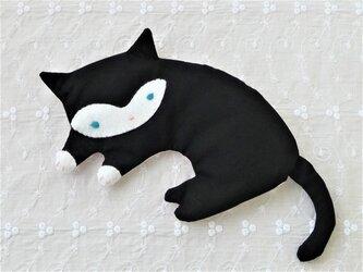 かおが白い黒ネコのアイピロー(青緑色の目)の画像