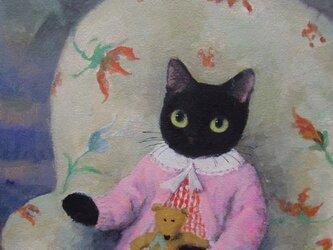 テディべアと黒ねこの画像