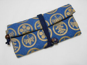 #道中財布 薄紺(ブルー)デニム #家紋松竹梅 金色 #三つ折り財布の画像