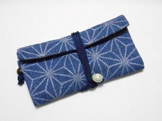 #道中財布 デニム紺 銀 #麻の葉 #三つ折り財布の画像