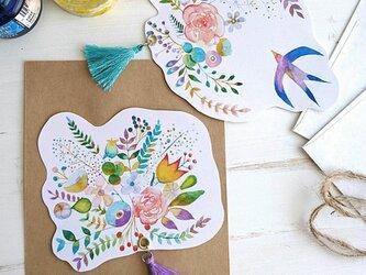 花とつばめ メッセージカード2枚セットの画像