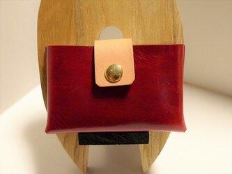 オイルレザーのカードケース ワインレッドの画像