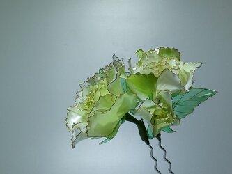 薔薇の簪(二本ざし:グリーン)の画像