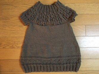 1歳から2歳♪手編み☆ブラウン丸ヨークチュニックの画像
